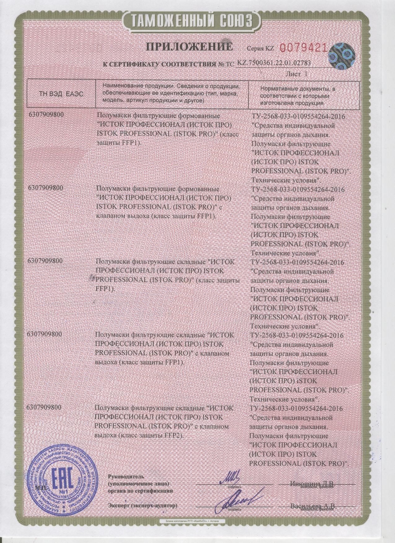 Сертификат ИСТОК ПРО Приложение №1